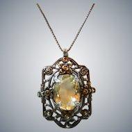 Art Deco Sterling Silver Citrine Marcasite Pendant Necklace