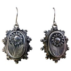 Antique Victorian Sterling Silver Earrings with Sunflower