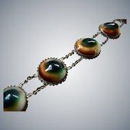 Vintage Art Deco Operculum Shell Sterling Silver Bracelet