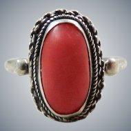 Vintage 800 Silver Coral Ring
