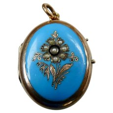 Antique Victorian 9CT Gold Blue Enamel Seed Pearl Locket