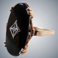 Art Deco 14K Gold Onyx Diamond Ring