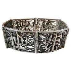 Vintage Ethnic 800 Silver Fine Filigree Bracelet