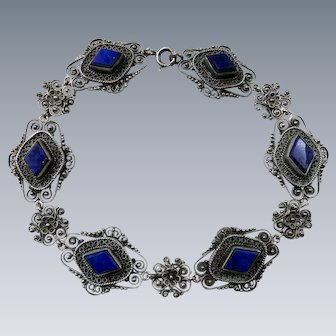 Antique Filigree Lapis Lazuli Bracelet