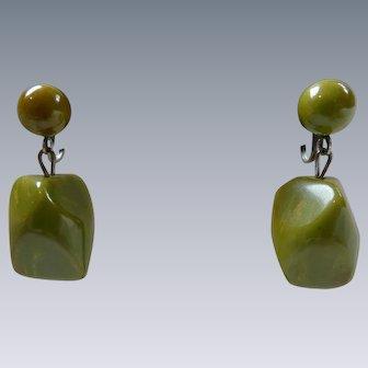Vintage Art Deco Olive Green Bakelite Earrings
