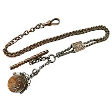 Victorian Gold Filled Watch Chain Slide Locket Fob W&H Co
