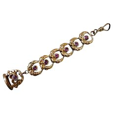 Antique Victorian Gold Filled Jeweled Watch Chain Fob Pendant