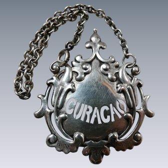 Antique Tiffany & Co. Sterling Silver Liquor Label Curacao