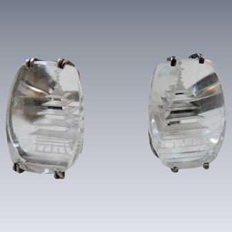 Vintage Art Deco Sterling Silver Rock Crystal Quartz Pagoda Cufflinks