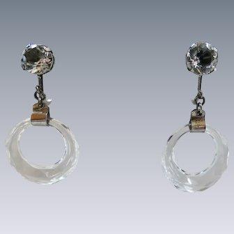 Art Deco Sterling Silver Rock Crystal Quartz Faceted Hoop Earrings