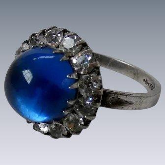 Art Deco Sterling Silver Blue Glass Cabochon White Paste Ring Uncas