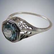 Vintage Sterling Silver Filigree Ring with Blue Topaz