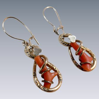 Antique Victorian Gold Filled Earrings Coral