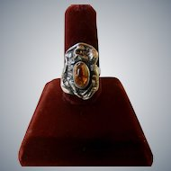 Vintage Artsy Sterling Silver Mexican Fire Opal Ring