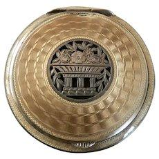 Art Deco Austrian Sterling Silver Guilloche Enamel Compact