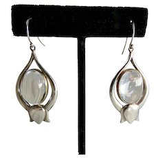 Vintage Rock Crystal Quartz Lotus Sterling Silver Earrings