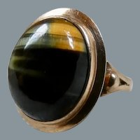 Antique Victorian 9CT Gold Hawks Eye Ring Size 8.25