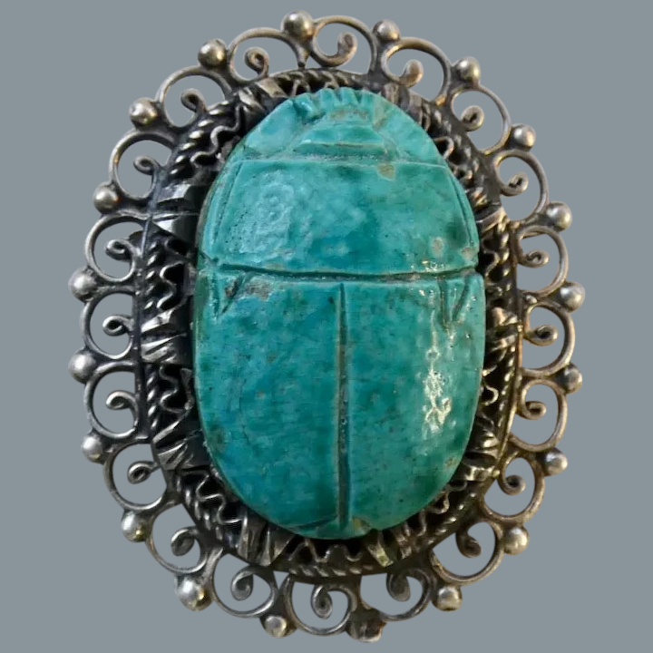 Large Size Wow Great Gift Idea Vintage 1960s Genuine Scarab Silver Plated Brooch Unique Egyptian Revival