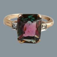 Art Deco 10K Yellow Gold Bicolor Glass Stone Diamond Ring