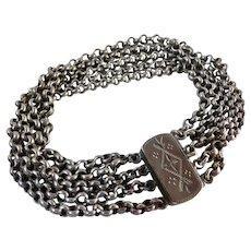 Vintage Sterling Silver Etched Clasp Multi Chain Bracelet