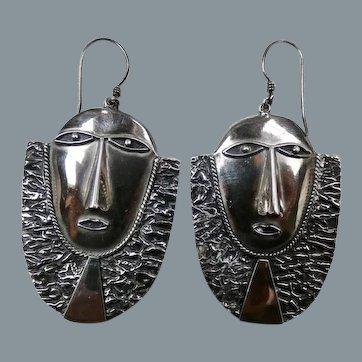 Large Vintage Brutalist Sterling Silver Face Mask Earrings