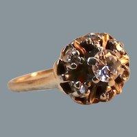 Art Deco 14K Gold Diamond Cluster Ring Size 7.5