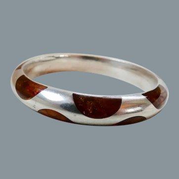 Modernist Sterling Silver Baltic Amber Inlay Bangle Bracelet Czechoslovakia
