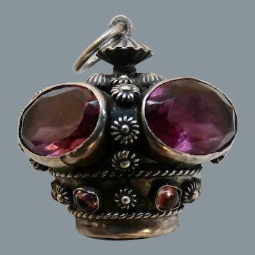 Vintage Etruscan Style Amethyst Glass 800 Silver Crown Fob Pendant Large Charm