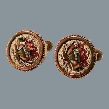 Rare Antique 14K Gold Italian Micro Mosaic Butterfly Earrings