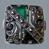 English Art Deco Revival Chrysoprase Onyx Marcasite Sterling Silver Ring Size 7.25