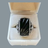 Art Deco Carved Onyx Sterling Silver Ring