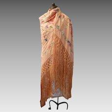 Early 20th Century Oriental Silk Shawl...