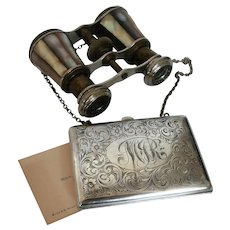 (Pair) French Opera Glasses and Silver Card Case...