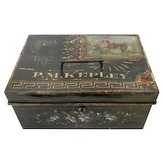 19th Century Hand Painted Tole Document Box....