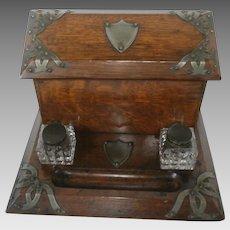 19th Century English Oak Stationery Writing Box...