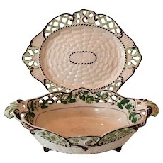 Late 18th Century Spode Earthenware Chestnut Bowl with Under Plate...