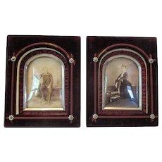 Victorian Velvet Frames with Photographs..