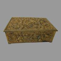 Art Nouveau Repousse Brass Box..