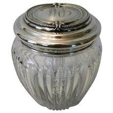 Crystal Sterling Lid Biscuit Jar..