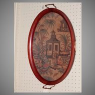 Oval Wooden Chinese Tray Under Glass....