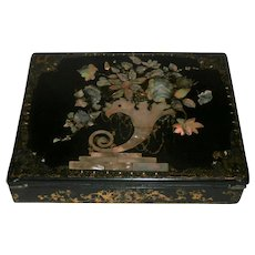 Late 19th Century Papier-Mâché Mache Lap Desk...
