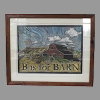 Original Print of a Barn..