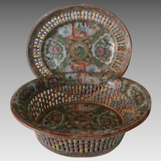 Late 19th Century Rose Medallion Reticulated Bowl...
