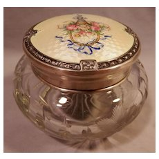 """On Hold for Mary""   Guilloche Enamel on Sterling Crystal Dresser Jar...."