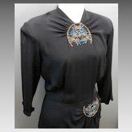 1940'S Black Crepe Dress....