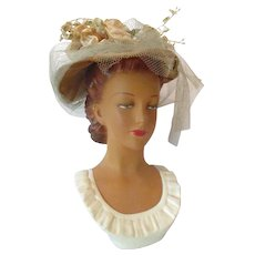 1930's /Small Display Mannequin Head with Hat Insert...