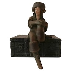 Art Deco Bronze Pirate Girl Cigar Box..