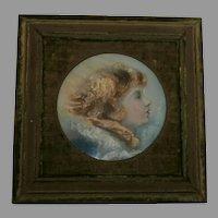 19th Century Gouache/Watercolor Portrait...