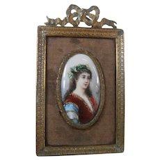 19th Century Enamel on Copper Miniature Painting...