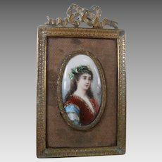 19th Century Enamel on Copper Miniature Painting...